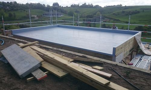 waterproofing pool room deck after