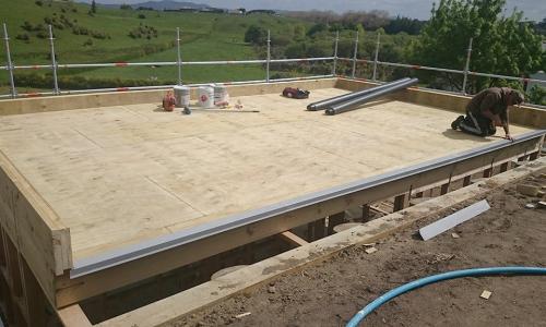 waterproofing pool room deck before